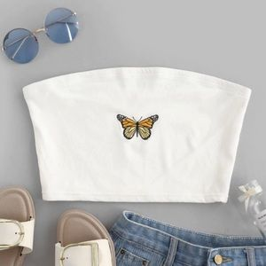Zaful Tops - Brand new white tube top with butterfly embroidery